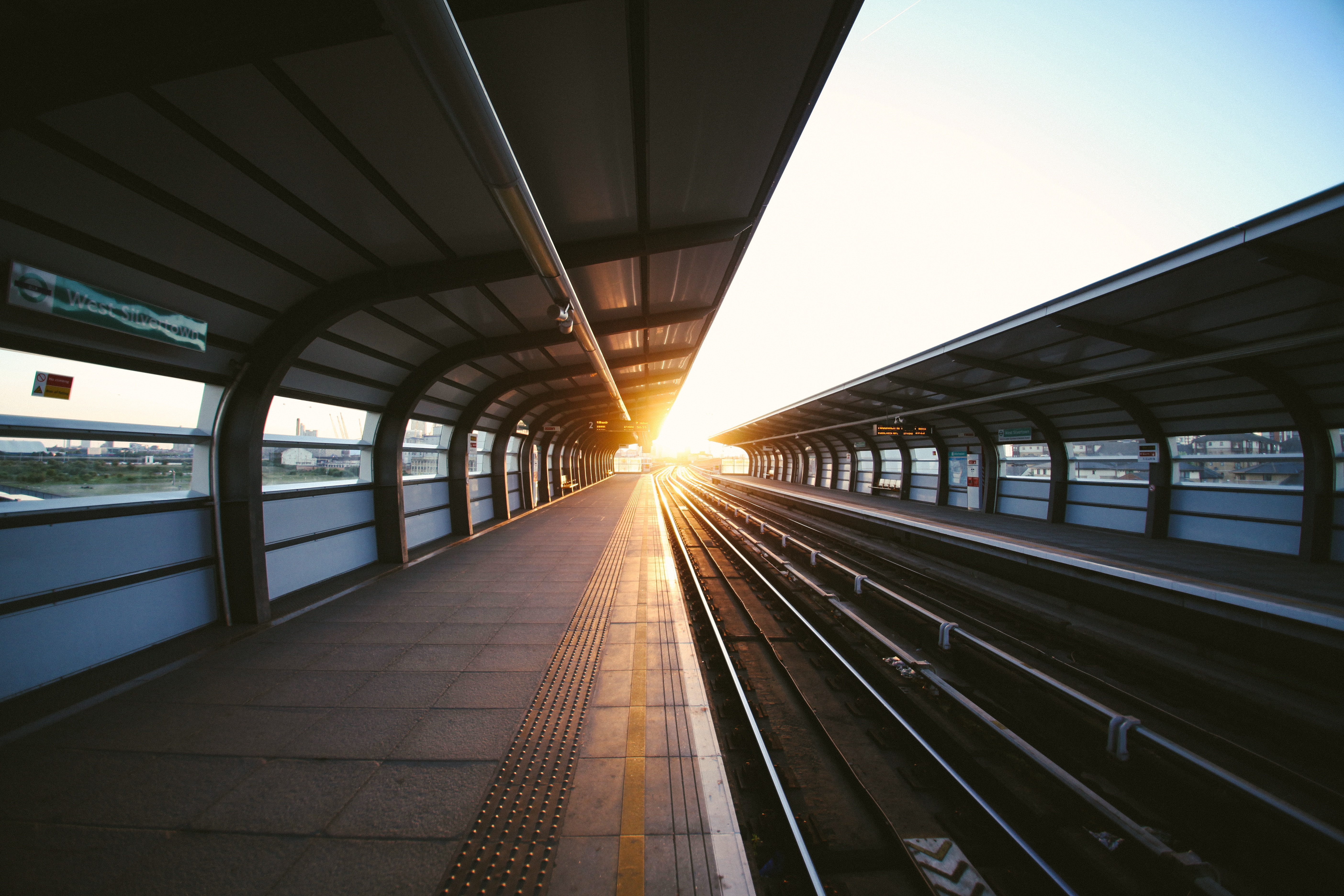 Train station with sunset