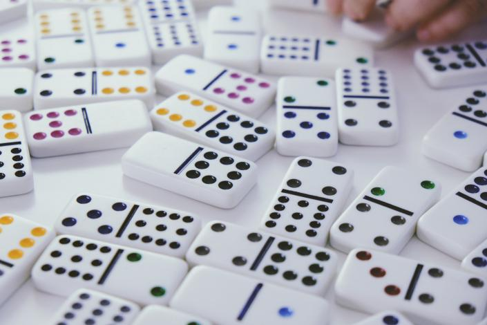 Dominoes on table