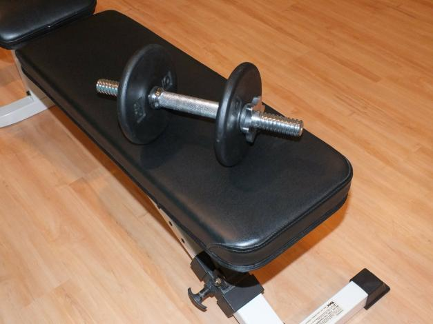 Dumbbell on weight bench