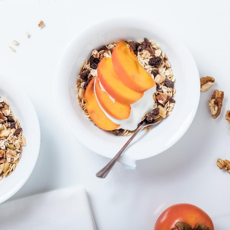Granola with peaches