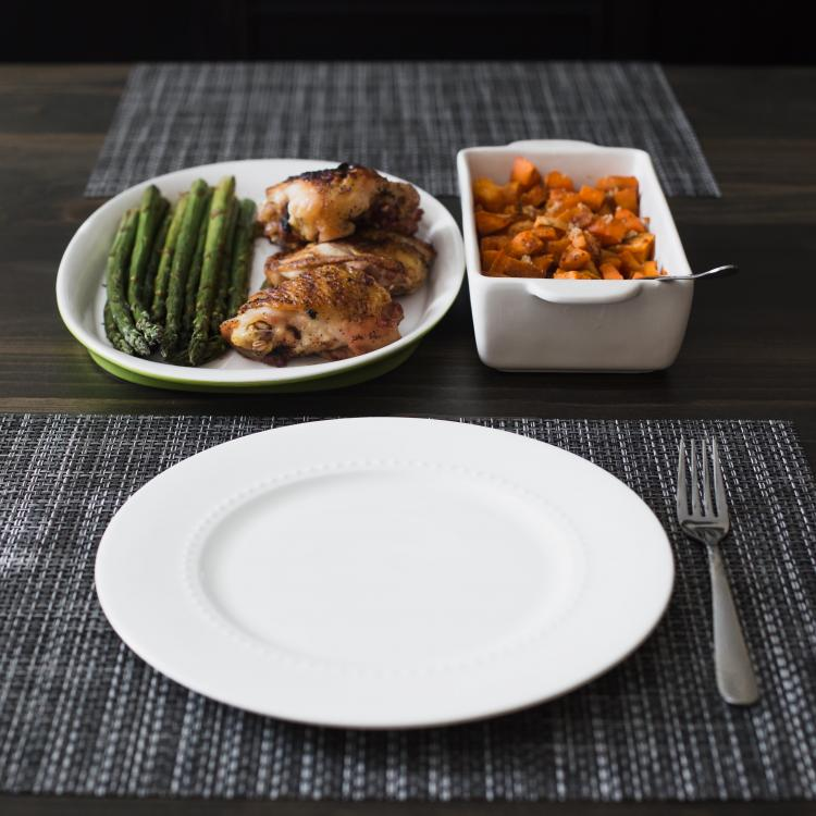 Chicken and vegetables with a plate
