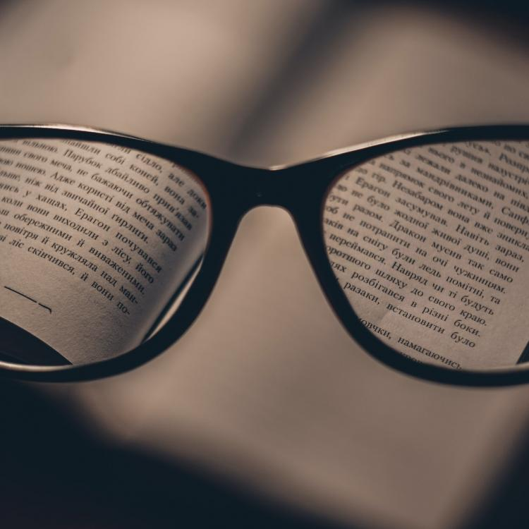 Russian book seen through glasses